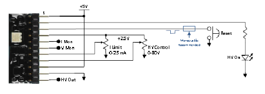 SiPM Precision Regulated DC PSU - Pin-out Diagram